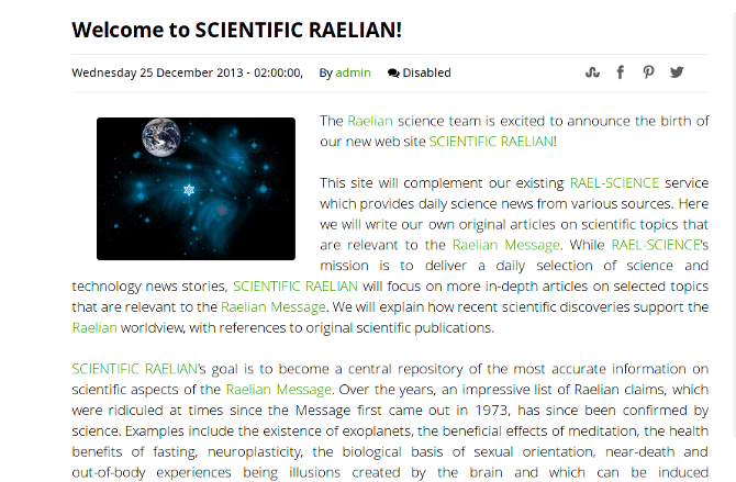 Welcome to Scientific Raelian!