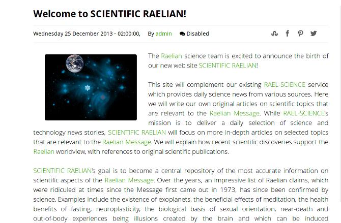 Welcome to Scientific Raelian!